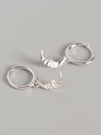 1#Platinum 925 Sterling Silver Moon Trend Huggie Earring