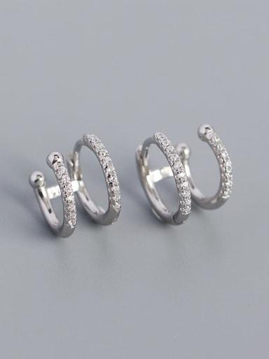 Platinum 925 Sterling Silver Cubic Zirconia Geometric Minimalist Clip Earring