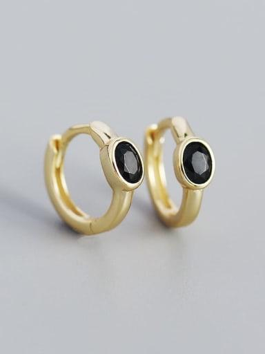 Gold (black stone) 925 Sterling Silver Cubic Zirconia Geometric Minimalist Huggie Earring