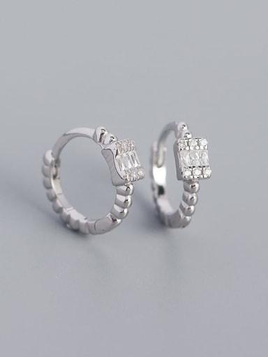 Platinum 925 Sterling Silver Cubic Zirconia Geometric Minimalist Huggie Earring