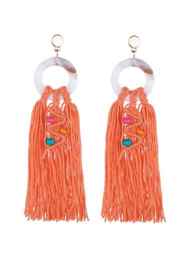 Orange e68749 Alloy Shell Cotton Rope Tassel Bohemia Hand-Woven Drop Earring