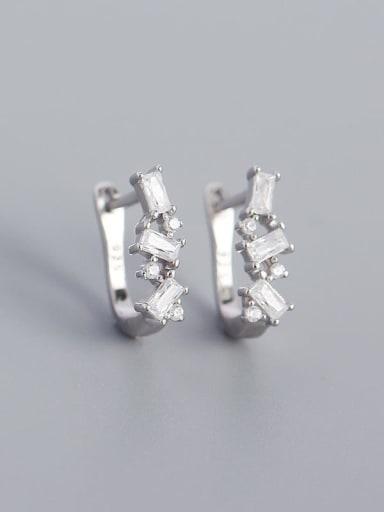 Platinum (white stone) 925 Sterling Silver Cubic Zirconia Geometric Minimalist Huggie Earring