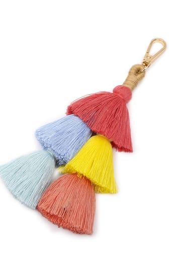 Red color k68037 Alloy Cotton Rope Tassel Tassel Hand-Woven Bohemia Bag Pendant