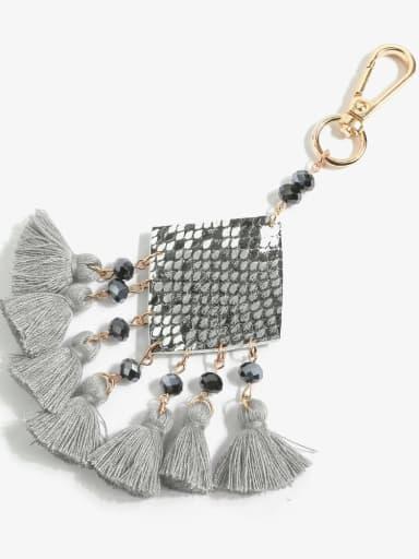 Grey k68093 Alloy Bead Leather Tassel Bohemia Hand-Woven  Bag Pendant