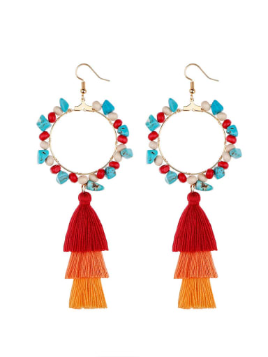 Red e68744 Alloy Bead Cotton Turquoise Tassel Bohemia  Hand-Woven Drop Earring