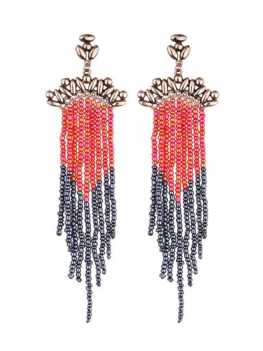 Red e68687 Alloy Bead Tassel Bohemia Hand-Woven Threader Earring
