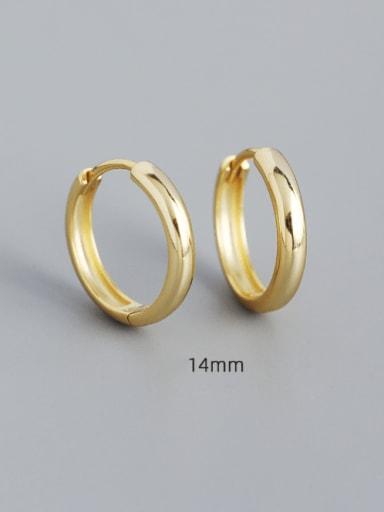14mm gold 925 Sterling Silver Geometric Minimalist Huggie Earring