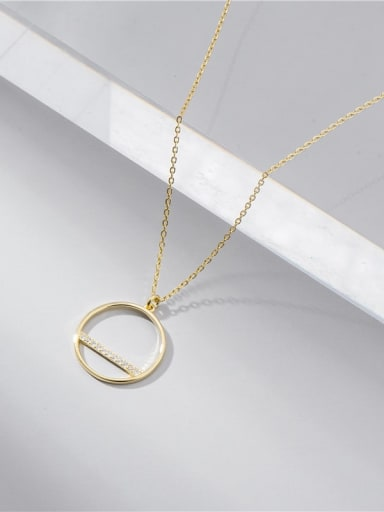 Gold 925 Sterling Silver Cubic Zirconia Round Minimalist Necklace