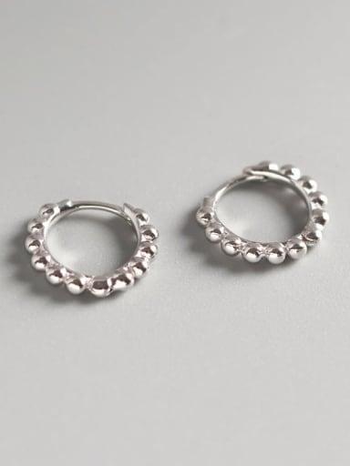 3#Large Platinum 925 Sterling Silver Geometric Minimalist Huggie Earring