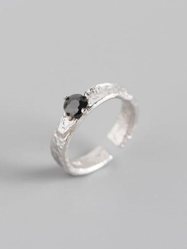 Platinum 925 Sterling Silver Rhinestone Geometric Classic Solitaire Ring
