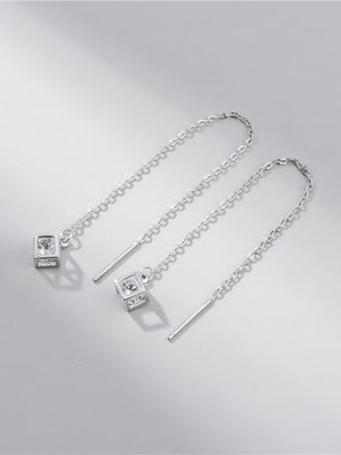 Zircon magic square ear line 925 Sterling Silver Cubic Zirconia Minimalist Square Earring and Necklace Set