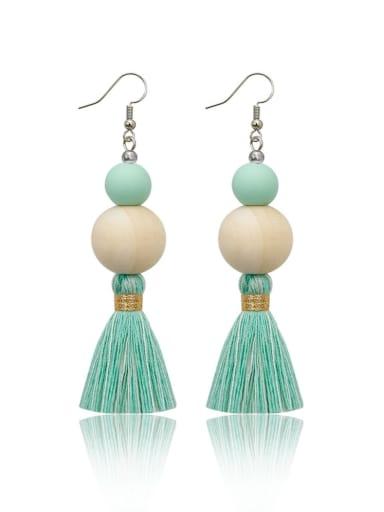 Green e68837 Alloy Wooden beads  Cotton Rope  Tassel Bohemia Hand-Woven Drop Earring