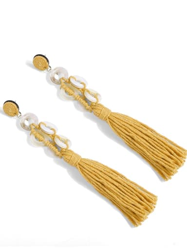 Yellow e68740 Alloy Tassel Shell Cotton Rope Geometric Bohemia Hand-Woven  Drop Earring