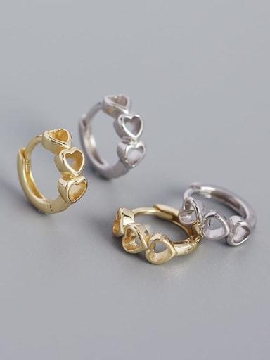 925 Sterling Silver Heart Minimalist Huggie Earring