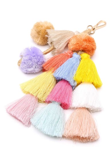 K68043 Alloy Cotton Rope  Tassel Hand-Woven Bohemia Bag Pendant