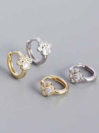 925 Sterling Silver Cubic Zirconia Heart Vintage Huggie Earring