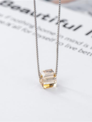 Square crystal (small) 925 Sterling Silver Crystal Geometric Minimalist Necklace