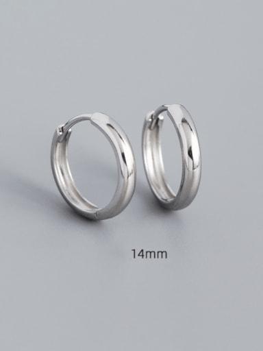 14mm white gold 925 Sterling Silver Geometric Minimalist Huggie Earring