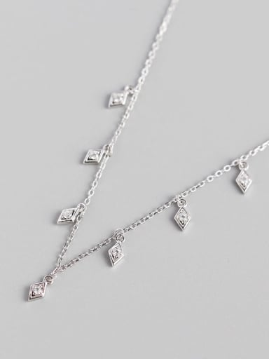 Platinum 925 Sterling Silver Cubic Zirconia Geometric Minimalist Necklace