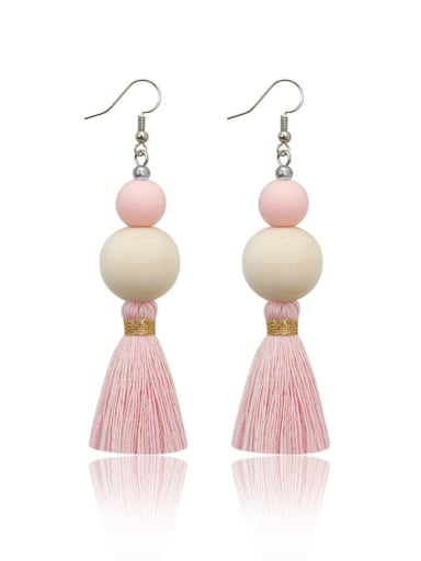 E68837 Alloy Wooden beads  Cotton Rope  Tassel Bohemia Hand-Woven Drop Earring