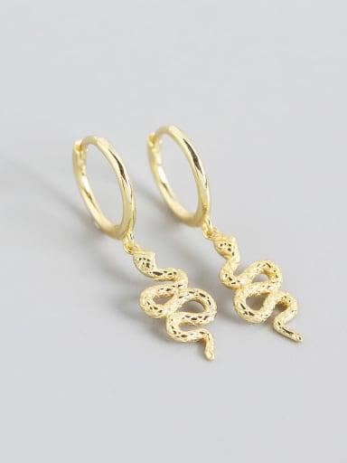 Gold 925 Sterling Silver Snake Trend Huggie Earring