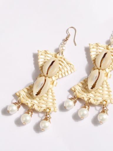 E68601 Hand-woven alloy shell bow bohemian Hand-woven drop earrings