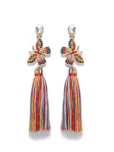 Color e68807 Alloy Rhinestone Cotton Rope  Tassel Bohemia Hand-Woven Drop Earring