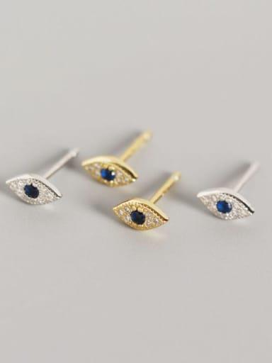 925 Sterling Silver Rhinestone Blue Evil Eye Trend Stud Earring