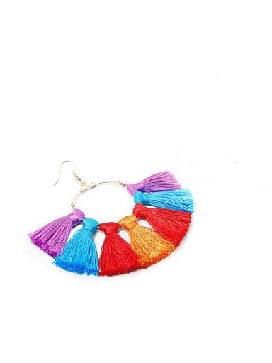 E68792 Copper Cotton Rope  Tassel Bohemia Hand-Woven Drop Earring
