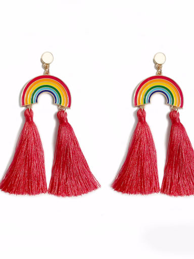 Red e68791 Alloy Cotton Rope Rainbow Bohemia Cotton Rope Drop Earring