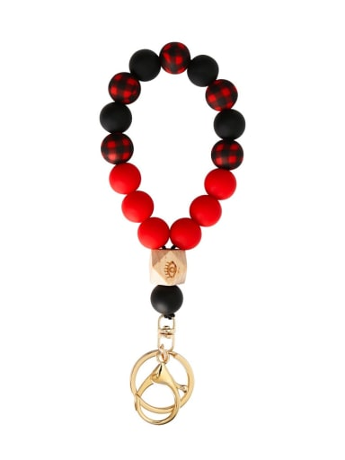 K68328 red Alloy Silicone Beads  Color Bracelet /Key Chain