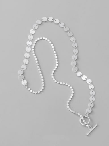 925 Sterling Silver Round Minimalist  Ot Buckle Bright Face  Necklace