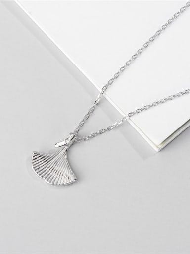 Platinum necklace 925 Sterling Silver Leaf Minimalist Necklace