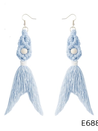 E68843 Alloy Cotton Rope Tassel Bohemia Hand-Woven Drop Earring