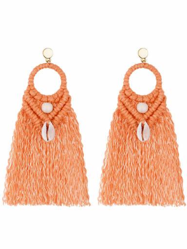 E68742 orange Alloy Shell Cotton Tassel Bohemia  Hand-woven  Drop Earring
