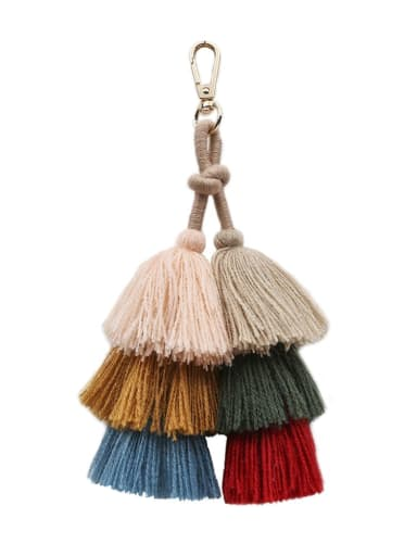 K68068 Alloy Cotton Rope Tassel Bohemia Hand-Woven  Bag Pendant