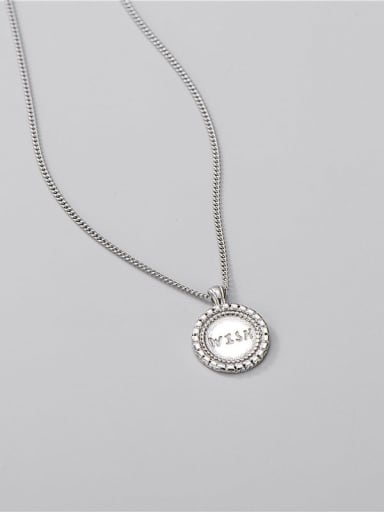 925 Sterling Silver Letter Minimalist Round Pendant Necklace