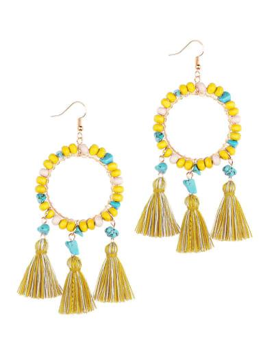 Yellow e68751 Alloy Turquoise Cotton Tassel  Geometric Bohemia Hand-Woven Drop Earring
