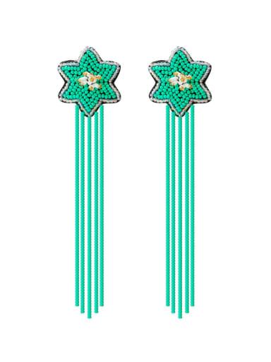 Green e68840 Alloy Star Bead Tassel Bohemia Hand-Woven Drop Earring