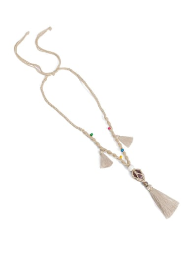 Camel n70247 Bead Cotton Rope  Natural stone Tassel Artisan Hand-Woven Long Strand Necklace
