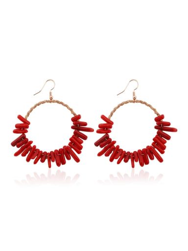 Alloy Copper wire Coral Geometric Bohemia Hand-Woven Drop Earring