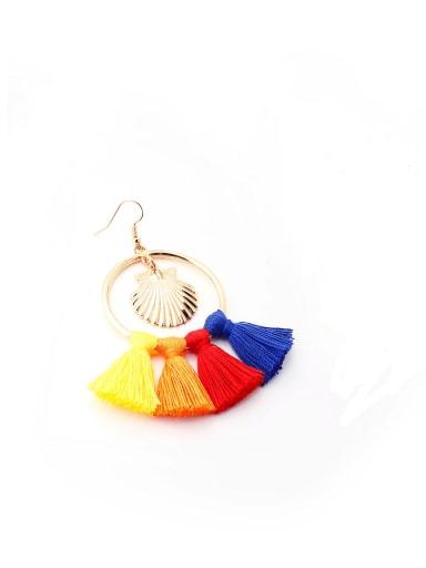 E68790 Alloy Cotton Rope Tassel Bohemia Hand-Woven Drop Earring