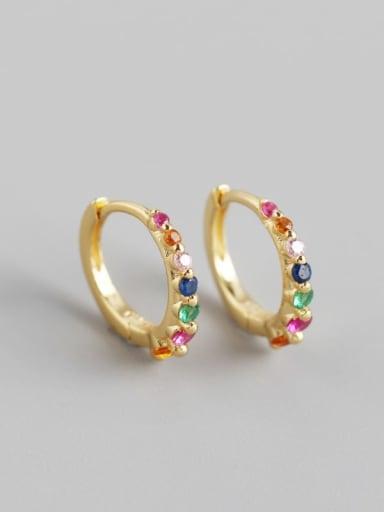 4#Gold (colored stone) 925 Sterling Silver Cubic Zirconia Multi Color Geometric Minimalist Huggie Earring