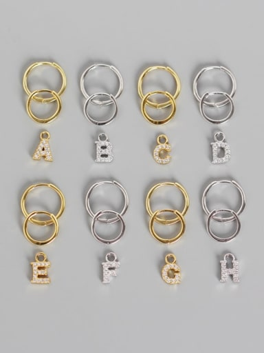 925 Sterling Silver Cubic Zirconia White Letter Trend Huggie Earring