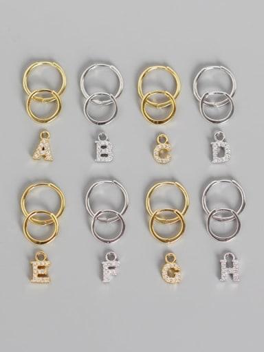 925 Sterling Silver Cubic Zirconia White Letter Trend Huggie Earring