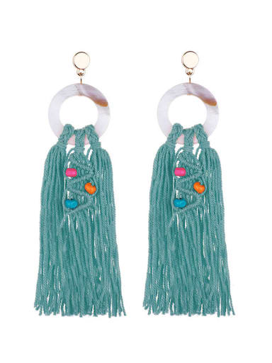 E68749 Alloy Shell Cotton Rope Tassel Bohemia Hand-Woven Drop Earring