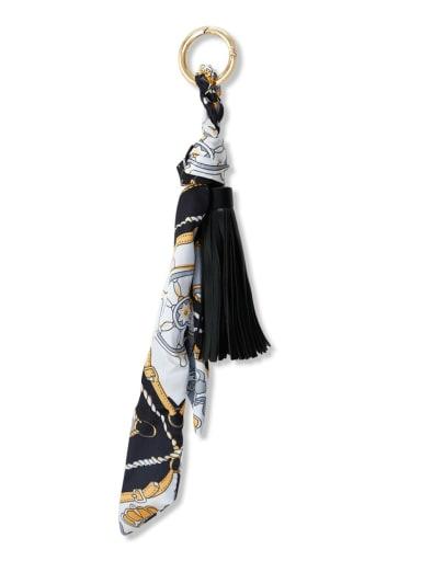 Black k68033 Alloy Silk Leather Tassel Artisan Hand-Woven Bag Pendant