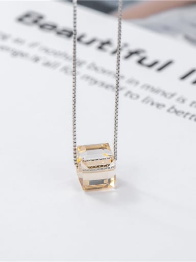 925 Sterling Silver Crystal Geometric Minimalist Necklace