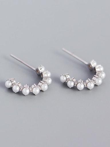Platinum 925 Sterling Silver Imitation Pearl Geometric Minimalist Stud Earring