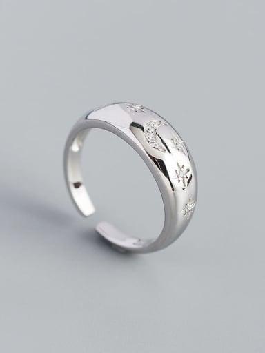 Platinum 925 Sterling Silver Cubic Zirconia Geometric Minimalist Band Ring